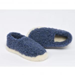 dark blue wool slippers