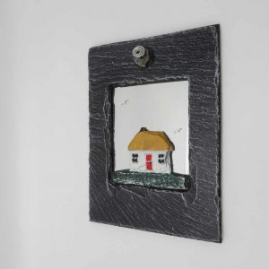 Natural Slate Mirror with Painted Cottage