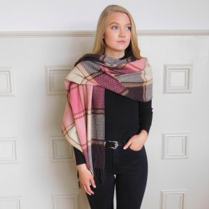 Connemara Weavers Multi Beige Large Check Scarf Wrapped around one shoulder