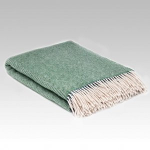Heritage Throw in Green Spruce Herringbone by McNutt of Donegal