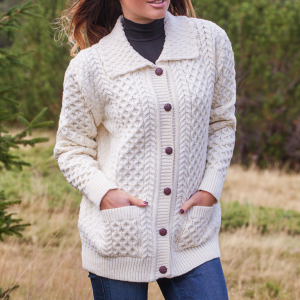 Ladies collared full button aran sweater close up
