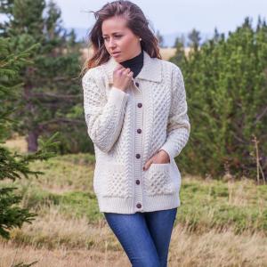 Ladies collared full button aran sweater