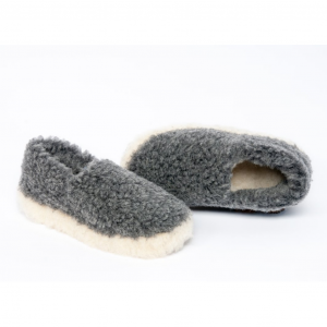 Graphite 100% Wool Adult Slippers
