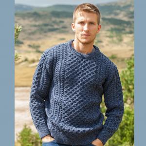 Denim Aran Crew Sweater