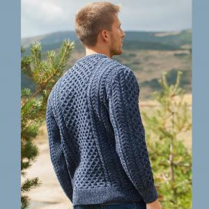 Denim Aran Crew Sweater Back