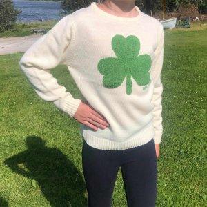 Emerald Shamrock Knitted Jumper in white for kids