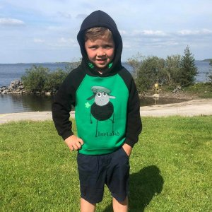 Black and Green Sheep Hoodie for kids