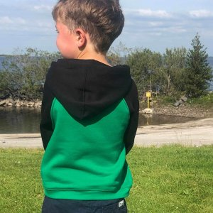 Black and Green Sheep Hoodie for kids from the back