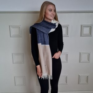 McNutt of Donegal Basswood and Smoke Lambswool Pashmina Over Shoulder