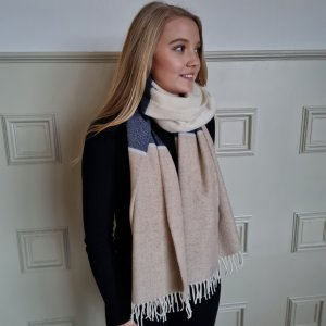 McNutt of Donegal Basswood and Smoke Lambswool Pashmina Wrapped up
