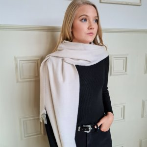 McNutt of Donegal Cashmere blend wrap in linen