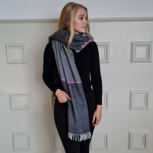 McNutt of Donegal Charcoal and Pink Stripe Pashmina Over Shoulder