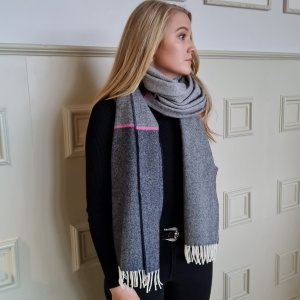 McNutt of Donegal Charcoal and Pink Stripe Pashmina Wrapped up