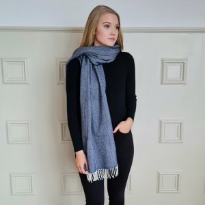 McNutt of Donegal Nautical Navy Cashmere Wrap Wrapped up Over one shoulder