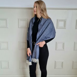 McNutt of Donegal Nautical Navy Cashmere Wrap Wrapped up Over shoulders left