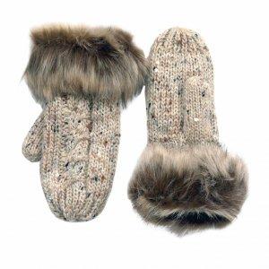 Oatmeal Speckle Wool Blend Aran Knit Fleece Line Mittens and Faux Fur Detail